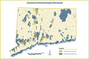 A map of drinking water watersheds in ConnecticutMap courtesy of The Trust for Public Land