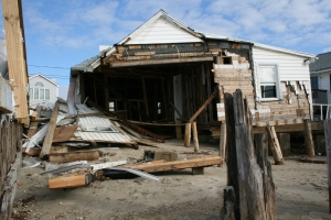 Beachfront cottage leveled by Sandy's storm surge.