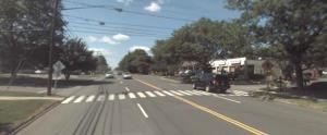 Route 1 in Westport, near a location where a 62-year-old woman was killed while walking in 2010. Note the unsignalized mid-block crosswalk. Complete streets improvements like a median, high-intensity pedestrian crossing signs, and narrowing the roadway could make this crossing safer.