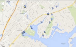 Water sampling locations in Mamaroneck Harbor and along the Mamaroneck River, Beaver Swamp Brook/Guion Creek and Otter Creek.