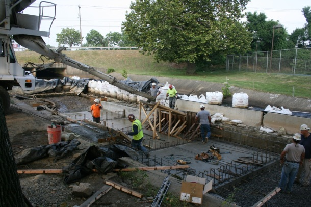 Terry Contracting and Castle Concrete formed and poured four concrete pools and five weirs.
