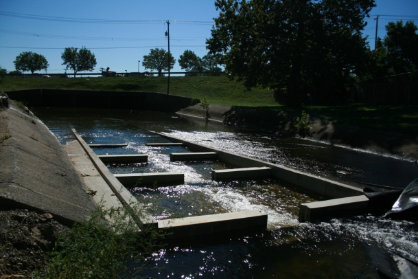The completed structure. The deeper water and slower currents are ideal for migrating fish.