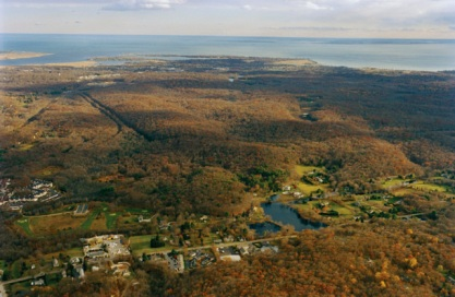 Viewing The Preserve from the north, with Long Island Sound in the distance. Photo: Robert Lorenz.