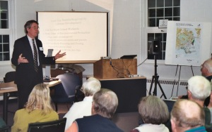 Save the Sound's Curt Johnson presenting about The Preserve at a public meeting. Photo by Robert Lorenz.