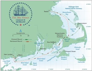 Map of the Morgan's summer 2014 journey. Photo credit mysticseaport.com