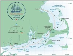 Map of the Morgan's summer 2014 journey. Photo credit mysticseaport.com