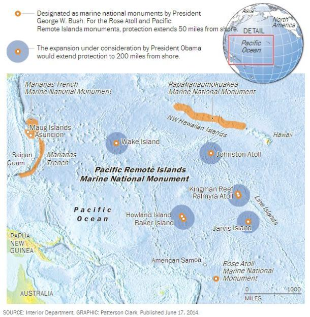 President Barack Obama is proposing an expansion of the Pacific Remote Islands Marine National Monument to 782,000 square miles. Alaska & Texas combine to cover 854,000 square miles. Mexico covers 758,000.
