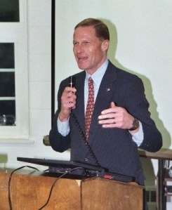 Then-Attorney General Dick Blumenthal speaking at a public meeting in 2004. Photo by Robert Lorenz.