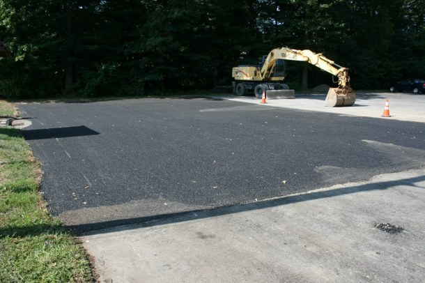 One of the two completed porous pavement patches at Trumbull Park.