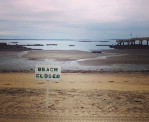 Coveleigh Beach closes after rainy days.