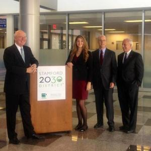 Megan Saunder, executive director of Stamford 2030 (second from left) is joined by Don Strait, president of CFE (third from left) and other founding partners at the launch. Photo credit Laura McMillan.