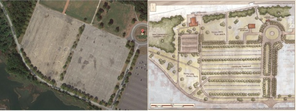Parking Lot #2 in its current (left) and revitalized (right) states.