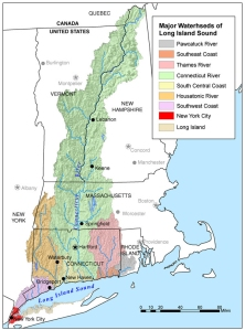 The Long Island Sound watershed and its drainage basins. Image via U.S. Geological Survey.