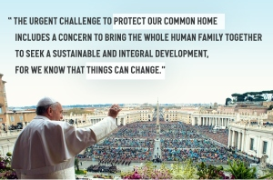 Pope Francis in his climate encyclical, released on June 18. Photo via 350.org.