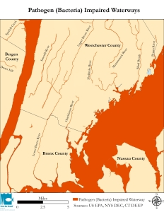 This map depicts the extent of bacterial impairments in and around Westchester coastal waters and rivers.