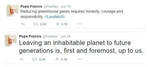 The pope has been actively promoting his ideas around climate change on his Twitter account.