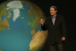 Al Gore presenting his slideshow on climate change. Image via environment.about.com.