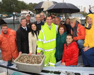 October 15, 2009 shellfish seeding with Tom Suozzi and others.
