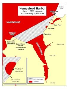 Shellfish open area map in Hempstead Harbor, from June 2011