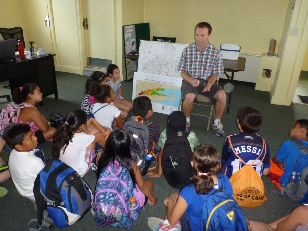 Our Water Quality Coordinator, Jack Singer leads a group discussion with campers from Mamaroneck Co-Op Camp.