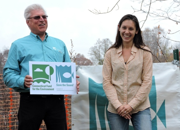 CFE/Save the Sound's John Champion and Gwen Macdonald, who directs the Pond Lily dam removal project.