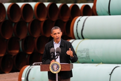 Not many people expected the president who sped through approval for the southern leg of the pipeline and celebrated in front of mountains of pipes to come out against the rest of the project. President Obama is pictured here in Cushing, Oklahoma in 2012.