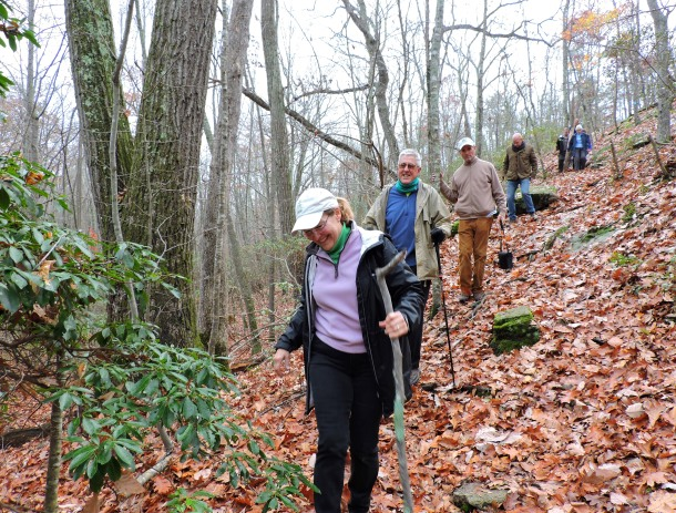 Staff, board, and volunteers from Save the River - Save the Hill, Friends of Oswegatchie Hills Nature Preserve, and CFE/Save the Sound hike the nature preserve in Fall 2015. Photo: Laura McMillan