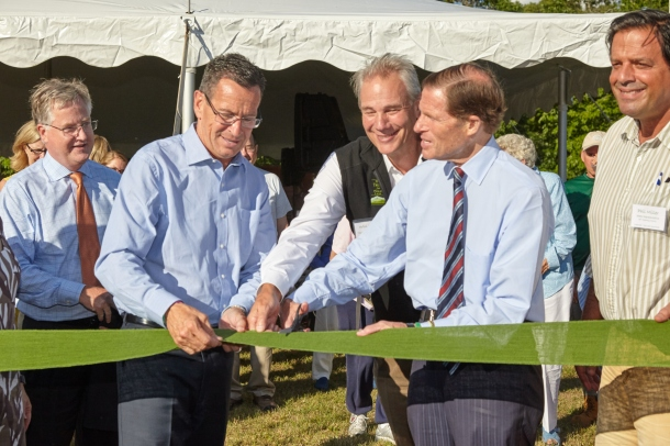 Governor Malloy and Senator Blumenthal are joined by other elected officials at the ribbon cutting of The Preserve. Photo credit Robert Lorenz.